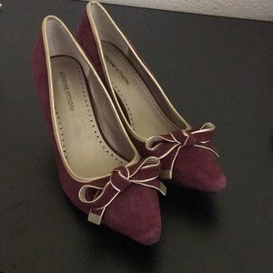 Maroon A. Vittandini Low High Heel shoes w/ bow